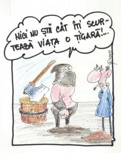 caricatura tigara si calaul Ovi Pascu