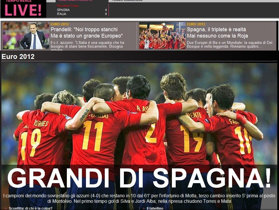 Gazzeta dello Sport dupa finala Euro 2012 Spania - Italia 4-0