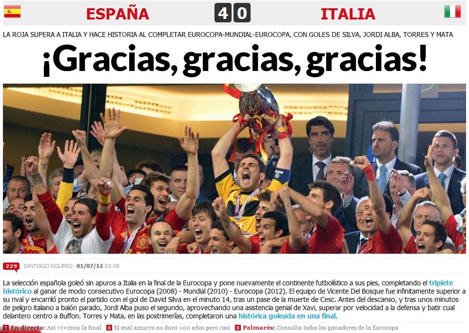 Site-ul Marca.com dupa finala Euro 2012 Spania 4-0 Italia