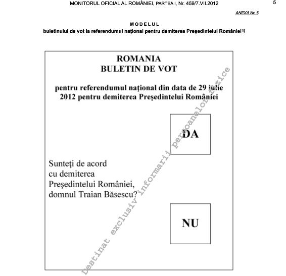 buletin de vot referendum demitere basescu