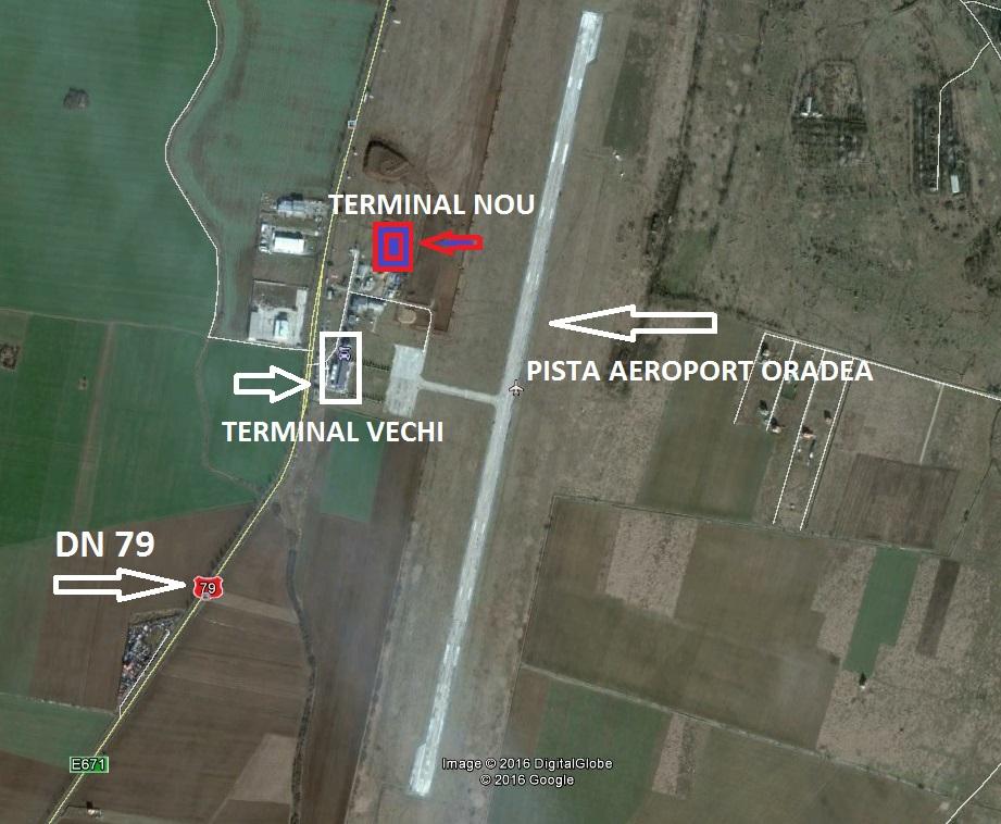 Pista Aeroportului Oradea, terminalul existent şi locul unde va fi construit terminalul nou