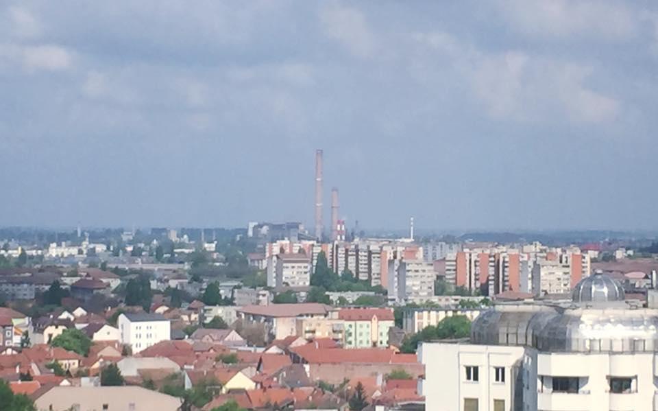CET Oradea de pe cladirea Primariei. Nu se mai vede fumul. Sursa foto: Florin Birta