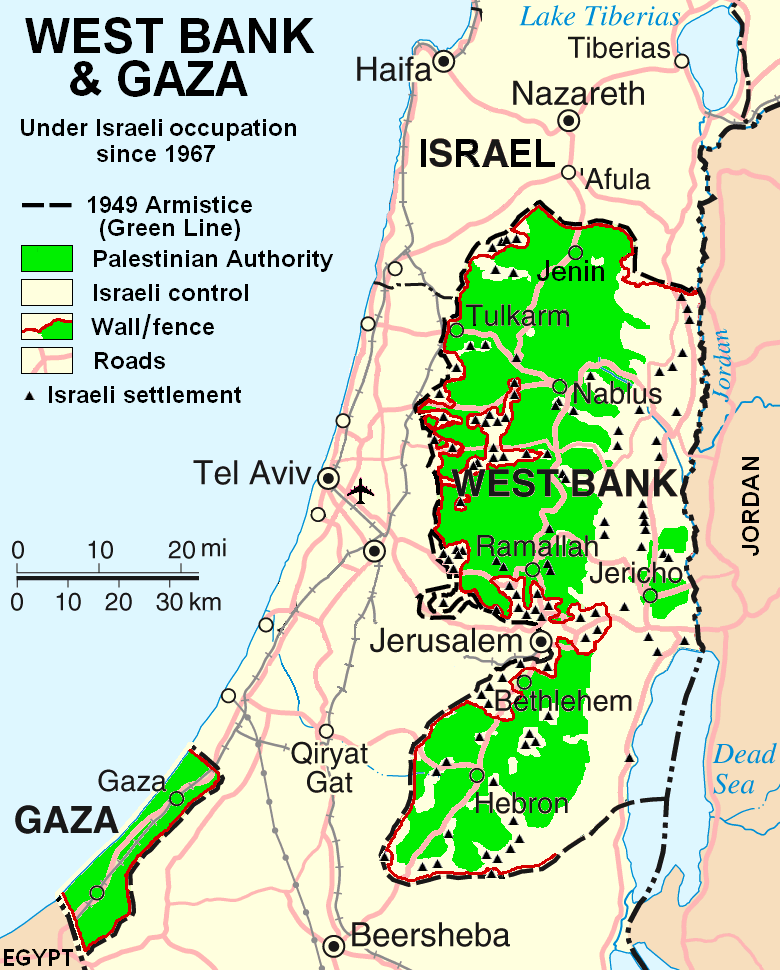Harta Israelului si a teritoriilor ocupate din Palestina