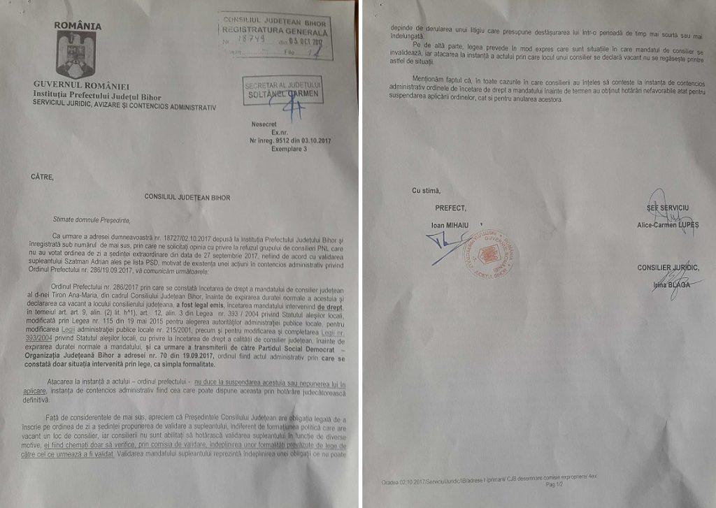 Adresa Prefectului privind validarea consilierului judetean